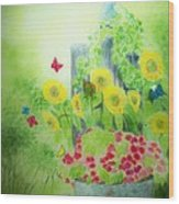Angel With Butterflies And Sunflowers Wood Print by Melanie Palmer