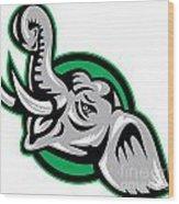 Angry African Bull Elephant Head Wood Print by Aloysius Patrimonio