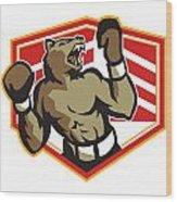 Angry Bear Boxer Boxing Retro Wood Print by Aloysius Patrimonio