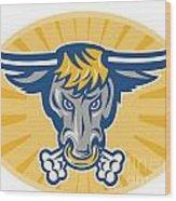 Angry Texas Longhorn Bull Head Front Wood Print by Aloysius Patrimonio