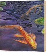 Animal - Fish - There's Something About Koi  Wood Print by Mike Savad
