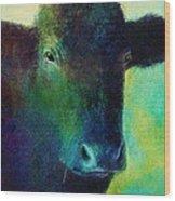 animals - cows- Black Cow Wood Print by Ann Powell