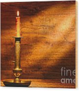 Antique Candlestick Wood Print by Olivier Le Queinec