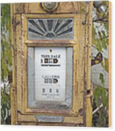 Antique Gas Pump Wood Print by Peter French