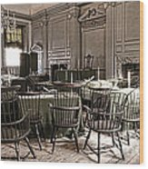 Antique Independence Hall Wood Print by Olivier Le Queinec