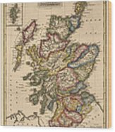 Antique Map Of Scotland By Fielding Lucas - Circa 1817 Wood Print by Blue Monocle