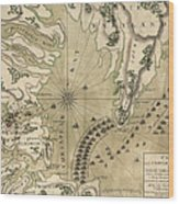 Antique Map Of The Battle Of Yorktown Virginia By Esnauts Et Rapilly - Circa 1781 Wood Print by Blue Monocle