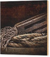 Antique Pulley Wood Print by Tom Mc Nemar