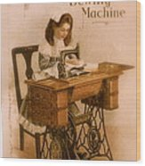 Antique Singer Sewing Machine Wood Print by Julie Butterworth