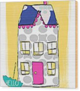 April Showers House Wood Print by Linda Woods