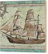 Aqua Maritime 1 Wood Print by Debbie DeWitt