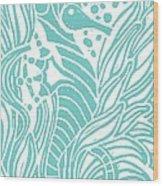 Aqua Seahorse Wood Print by Stephanie Troxell