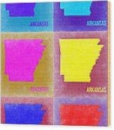 Arkansas Pop Art Map 2 Wood Print by Naxart Studio