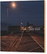 Asbury Park Boardwalk At Night Wood Print by Bill Cannon