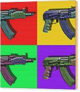 Assault Rifle Pop Art Four - 20130120 Wood Print by Wingsdomain Art and Photography