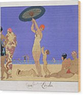 At The Lido Wood Print by Georges Barbier