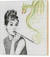 Audrey And Her Magic Dragon Wood Print by Olga Shvartsur