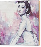 Audrey Hepburn Purple Watercolor Portrait Wood Print by Olga Shvartsur