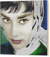 Audrey Hepburn Wood Print by Tony Rubino