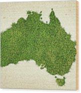 Australia Grass Map Wood Print by Aged Pixel