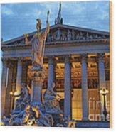 Austrian Parliament Building Wood Print by Mariola Bitner