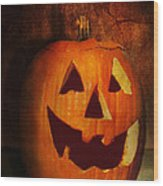 Autumn - Halloween - Jack-o-lantern  Wood Print by Mike Savad