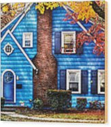 Autumn - House - Little Dream House  Wood Print by Mike Savad