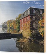Autumn Morning At The Kingston Mill Wood Print by George Oze
