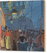 Avenue De Clichy Paris Wood Print by Louis Anquetin