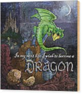 Baby Dragon Wood Print by Evie Cook