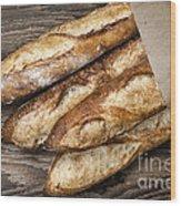 Baguettes Bread Wood Print by Elena Elisseeva