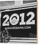 Barack Obama 2012 Us Presidential Election Poster Florida Usa Wood Print by Joe Fox