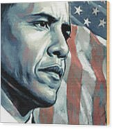 Barack Obama Artwork 2 B Wood Print by Sheraz A