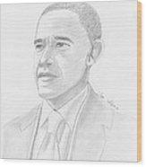 Barack Obama Wood Print by M Valeriano