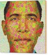 Barack Obama - Maple Leaves Wood Print by Samuel Majcen