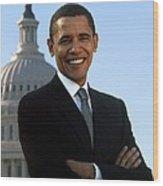 Barack Obama Wood Print by Tilen Hrovatic