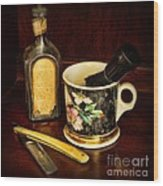 Barber - Shaving Mug And Toilet Water Wood Print by Paul Ward