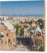 Barcelona Park Guell Antoni Gaudi Wood Print by Matthias Hauser