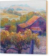 Barn Vineyard Wood Print by Carolyn Jarvis