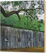 Barn With Brick Silo Wood Print by Julie Dant