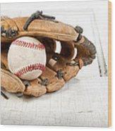 Baseball And Mitt Wood Print by Jennifer Huls