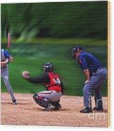 Baseball Batter Up Wood Print by Thomas Woolworth