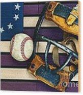 Baseball Catchers Mask Vintage On American Flag Wood Print by Paul Ward