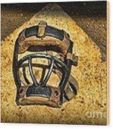 Baseball Catchers Mask Vintage  Wood Print by Paul Ward