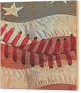 Baseball Is Sewn Into The Fabric Wood Print by Heidi Smith