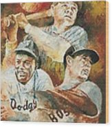 Baseball Legends Babe Ruth Jackie Robinson And Ted Williams Wood Print by Christiaan Bekker