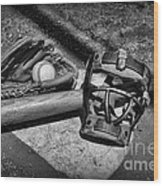Baseball Play Ball In Black And White Wood Print by Paul Ward
