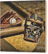 Baseball Play Ball Wood Print by Paul Ward