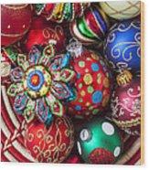 Basketful Of Christmas Ornaments Wood Print by Garry Gay
