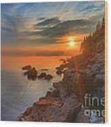 Bass Harbor Sunset Wood Print by Adam Jewell